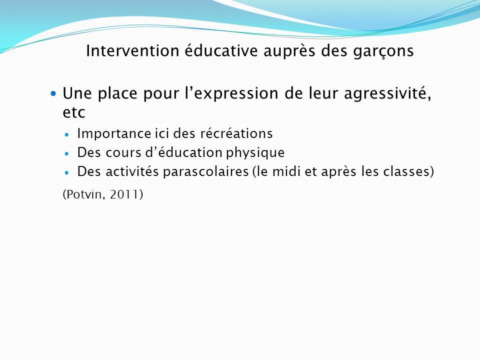 Intervention éducative auprès des garçons Une place pour lexpression de leur agressivité, etc Importance ici des récréations Des cours déducation phys