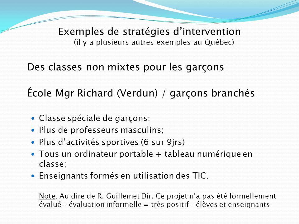 Exemples de stratégies dintervention (il y a plusieurs autres exemples au Québec) Des classes non mixtes pour les garçons École Mgr Richard (Verdun) /