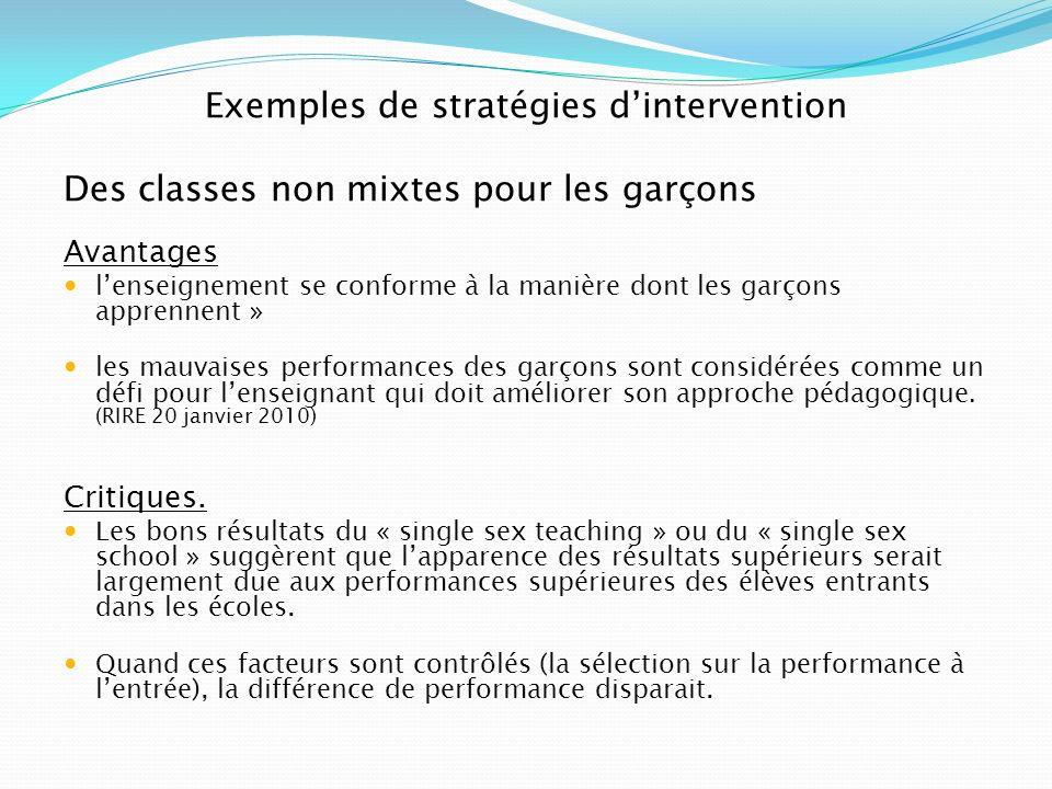 Exemples de stratégies dintervention Des classes non mixtes pour les garçons Avantages lenseignement se conforme à la manière dont les garçons apprenn
