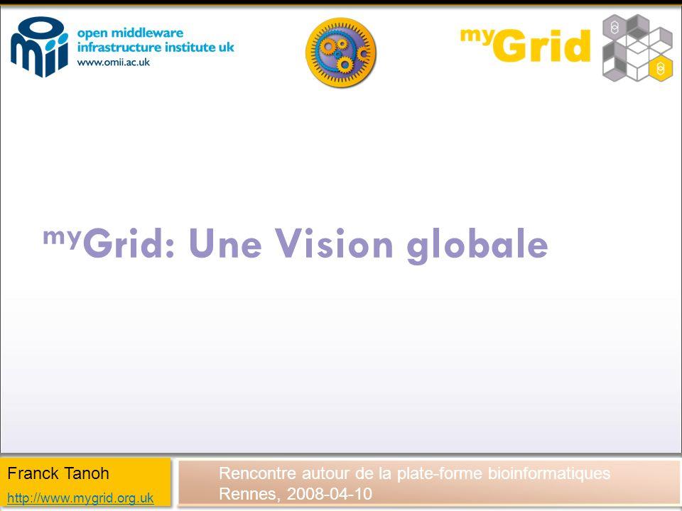 my Grid: Une Vision globale Rencontre autour de la plate-forme bioinformatiques Rennes, 2008-04-10 Franck Tanoh http://www.mygrid.org.uk