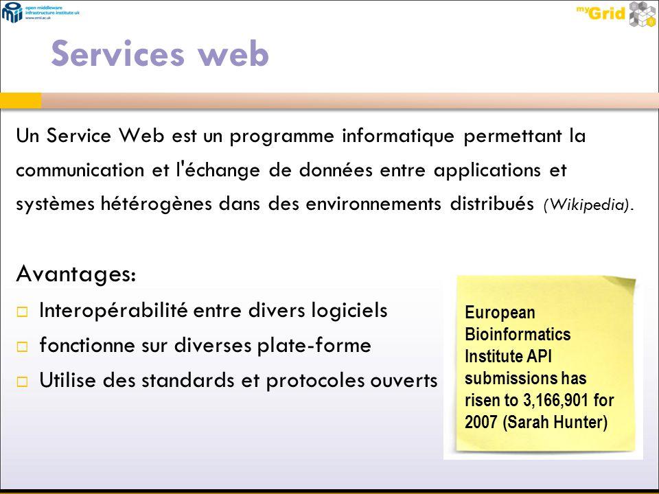 Services web Un Service Web est un programme informatique permettant la communication et l'échange de données entre applications et systèmes hétérogèn