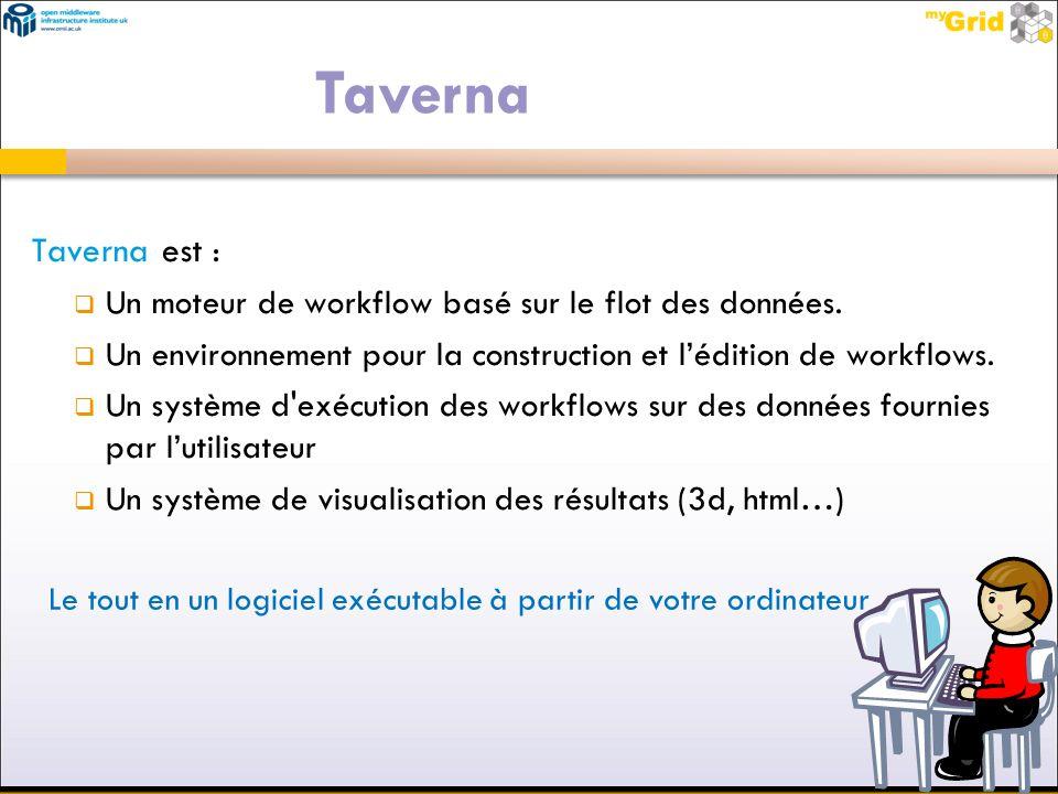 Taverna est : Un moteur de workflow basé sur le flot des données. Un environnement pour la construction et lédition de workflows. Un système d'exécuti