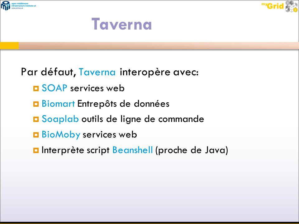 Par défaut, Taverna interopère avec: SOAP services web Biomart Entrepôts de données Soaplab outils de ligne de commande BioMoby services web Interprèt