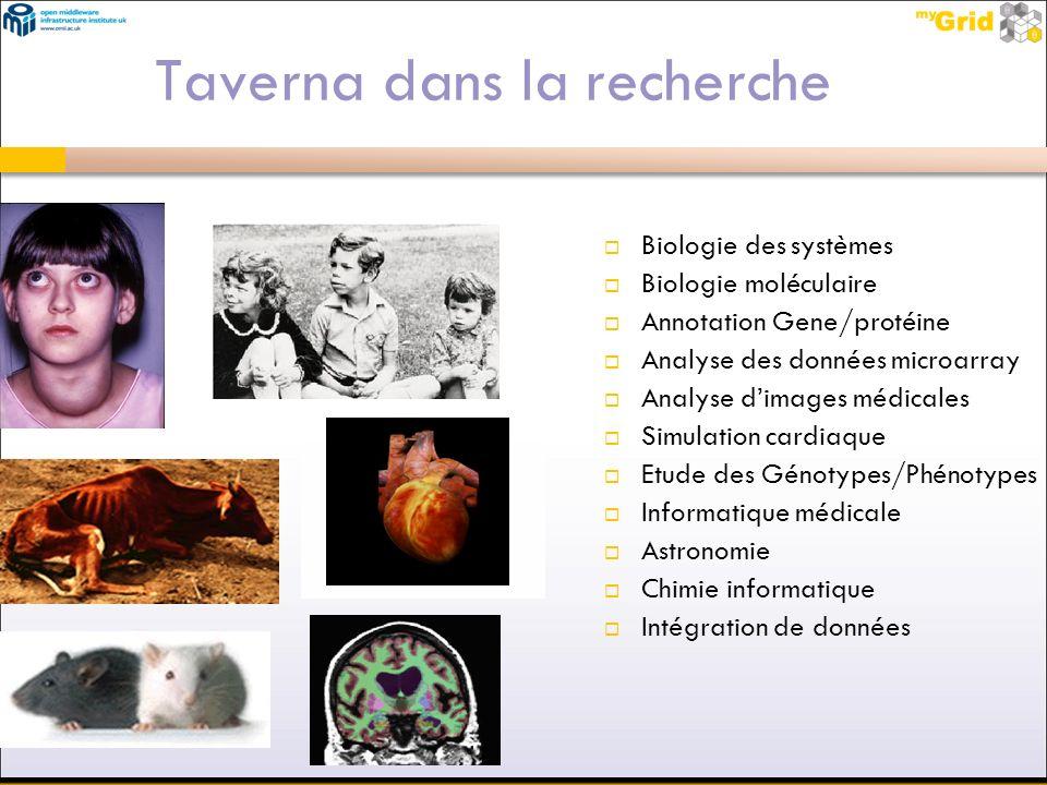 Taverna dans la recherche Biologie des systèmes Biologie moléculaire Annotation Gene/protéine Analyse des données microarray Analyse dimages médicales