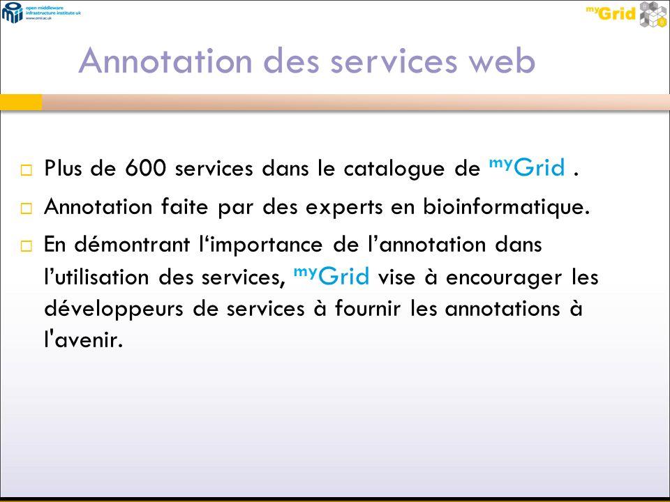 Plus de 600 services dans le catalogue de my Grid. Annotation faite par des experts en bioinformatique. En démontrant limportance de lannotation dans