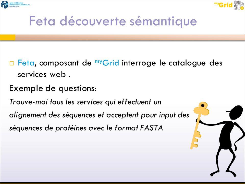 Feta découverte sémantique Feta, composant de my Grid interroge le catalogue des services web. Exemple de questions: Trouve-moi tous les services qui