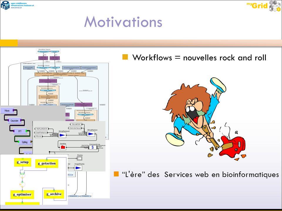 Motivations Workflows = nouvelles rock and roll L'ère des Services web en bioinformatiques