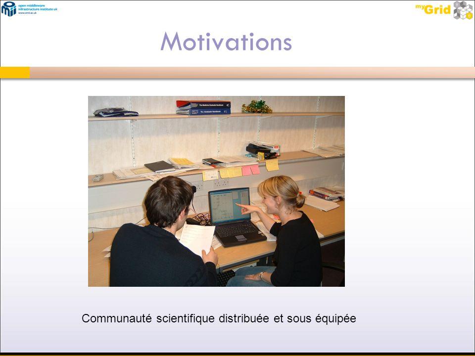 Motivations Communauté scientifique distribuée et sous équipée