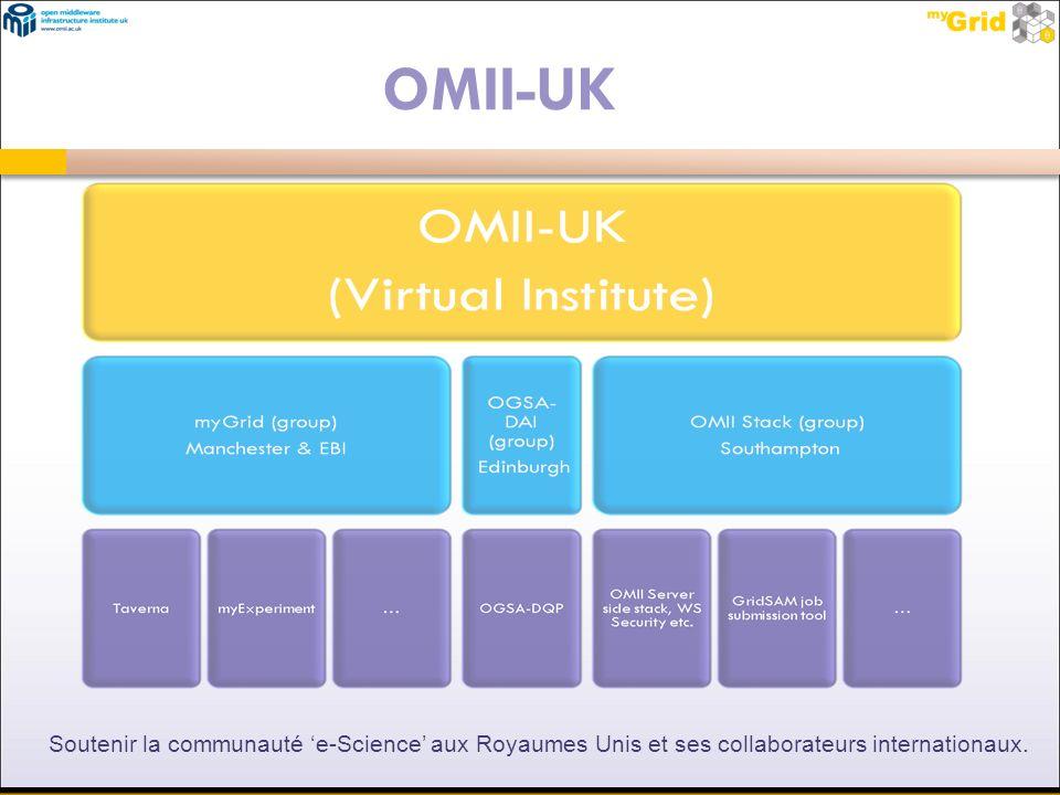 Soutenir la communauté e-Science aux Royaumes Unis et ses collaborateurs internationaux. OMII-UK