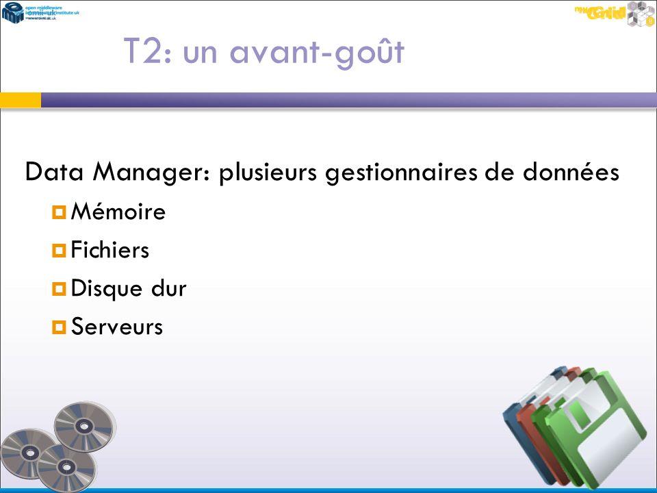 Data Manager: plusieurs gestionnaires de données Mémoire Fichiers Disque dur Serveurs