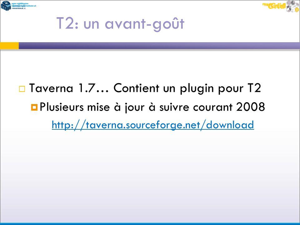 Taverna 1.7… Contient un plugin pour T2 Plusieurs mise à jour à suivre courant 2008 http://taverna.sourceforge.net/download T2: un avant-goût