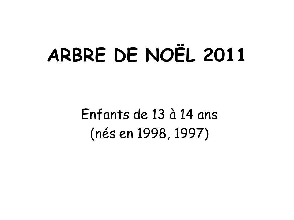 ARBRE DE NOËL 2011 Enfants de 13 à 14 ans (nés en 1998, 1997)