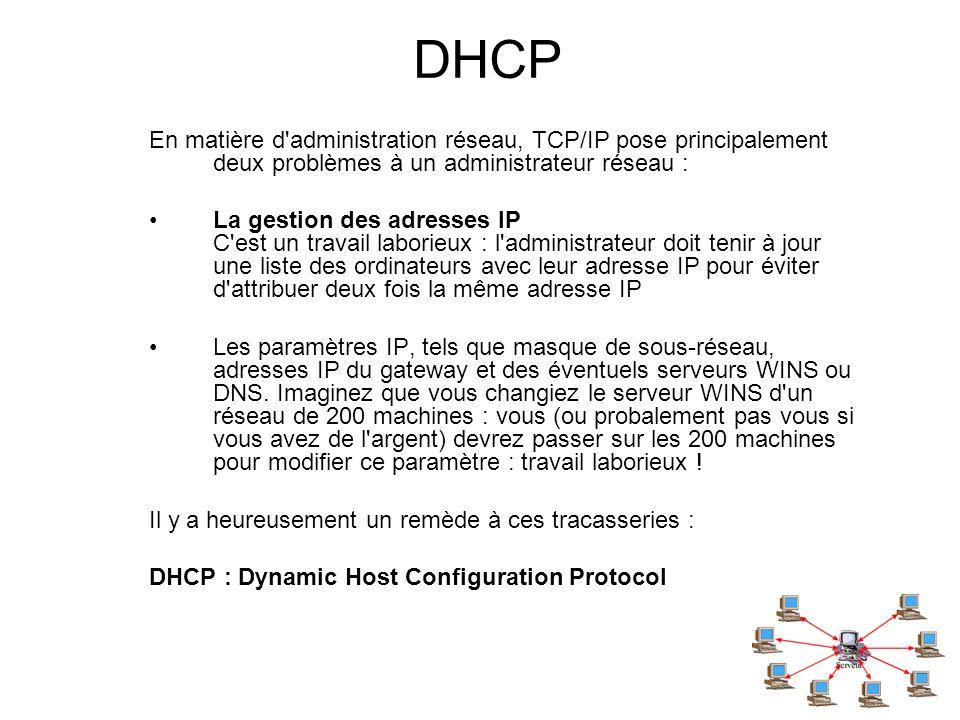 DHCP En matière d'administration réseau, TCP/IP pose principalement deux problèmes à un administrateur réseau : La gestion des adresses IP C'est un tr