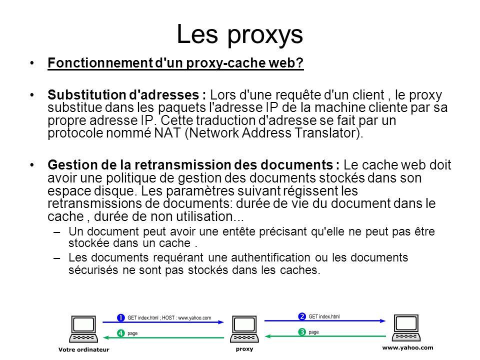 Les proxys Fonctionnement d'un proxy-cache web? Substitution d'adresses : Lors d'une requête d'un client, le proxy substitue dans les paquets l'adress