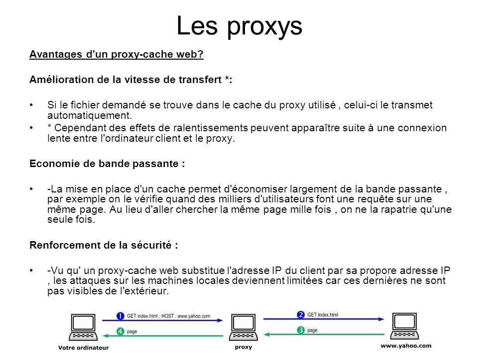 Les proxys Avantages d'un proxy-cache web? Amélioration de la vitesse de transfert *: Si le fichier demandé se trouve dans le cache du proxy utilisé,