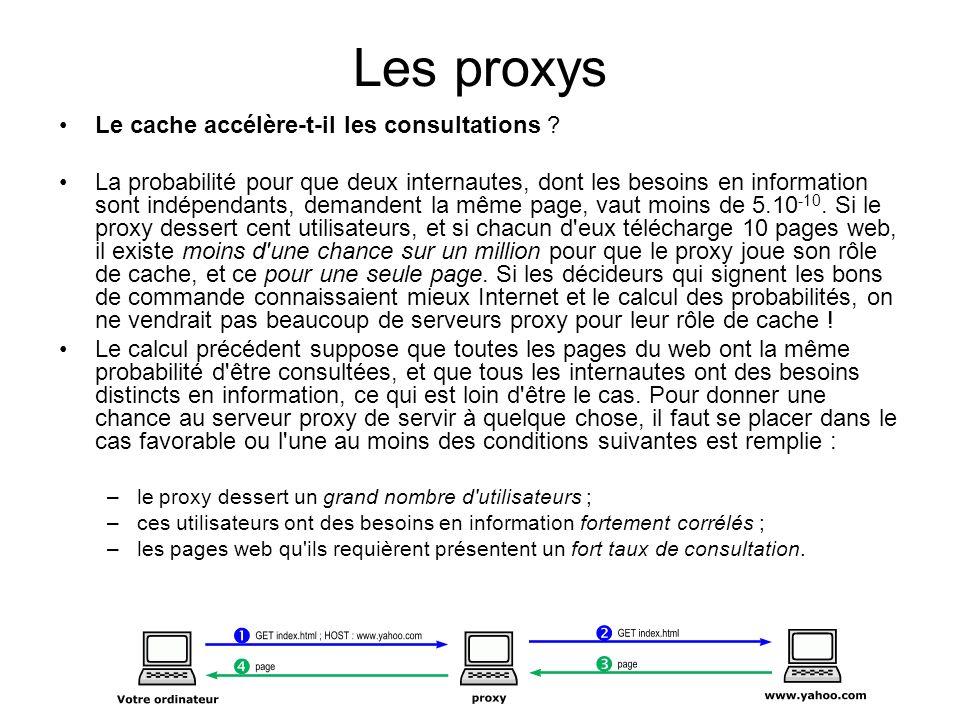 Les proxys Le cache accélère-t-il les consultations ? La probabilité pour que deux internautes, dont les besoins en information sont indépendants, dem