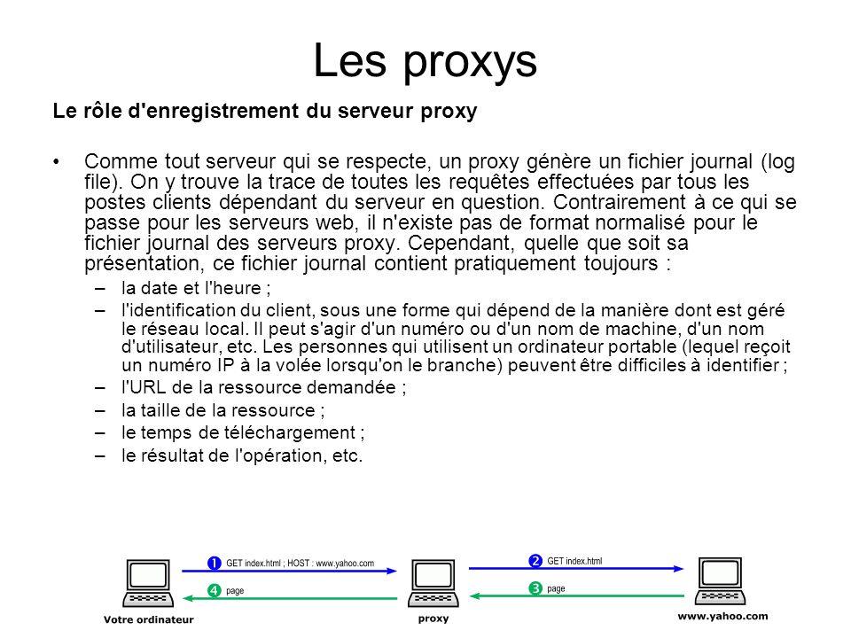 Les proxys Le rôle d'enregistrement du serveur proxy Comme tout serveur qui se respecte, un proxy génère un fichier journal (log file). On y trouve la