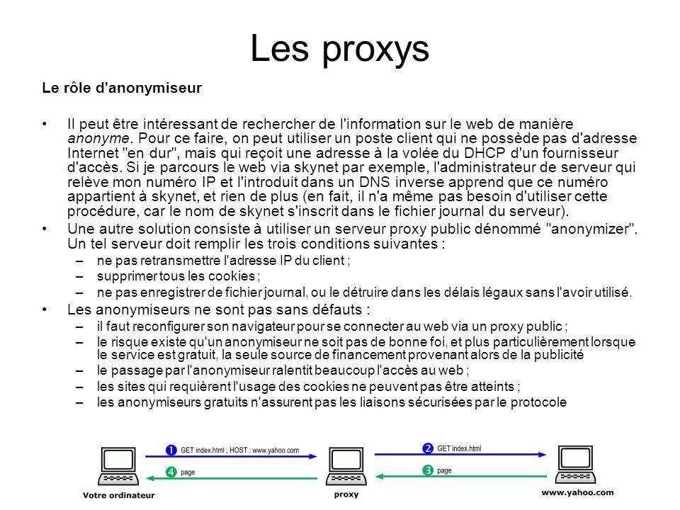 Les proxys Le rôle d'anonymiseur Il peut être intéressant de rechercher de l'information sur le web de manière anonyme. Pour ce faire, on peut utilise