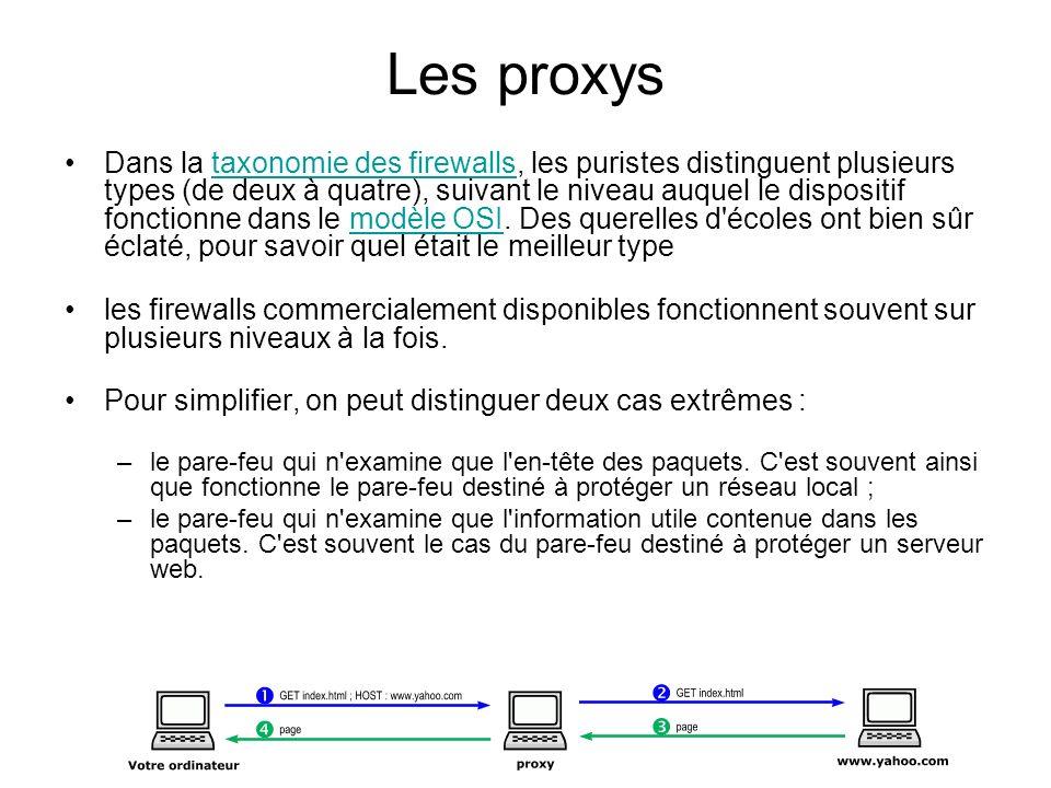 Les proxys Dans la taxonomie des firewalls, les puristes distinguent plusieurs types (de deux à quatre), suivant le niveau auquel le dispositif foncti