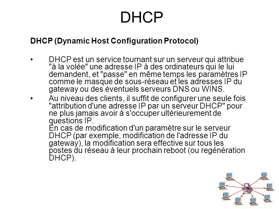 DHCP DHCP (Dynamic Host Configuration Protocol) DHCP est un service tournant sur un serveur qui attribue