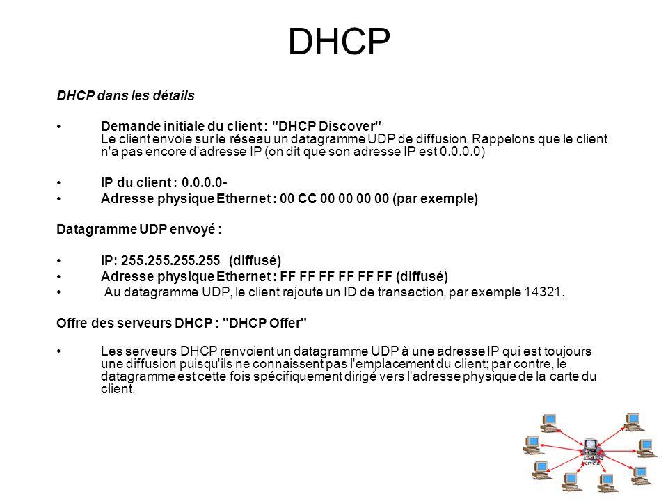 DHCP DHCP dans les détails Demande initiale du client :