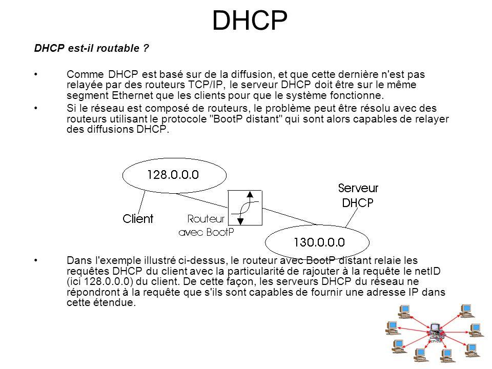 DHCP DHCP est-il routable ? Comme DHCP est basé sur de la diffusion, et que cette dernière n'est pas relayée par des routeurs TCP/IP, le serveur DHCP