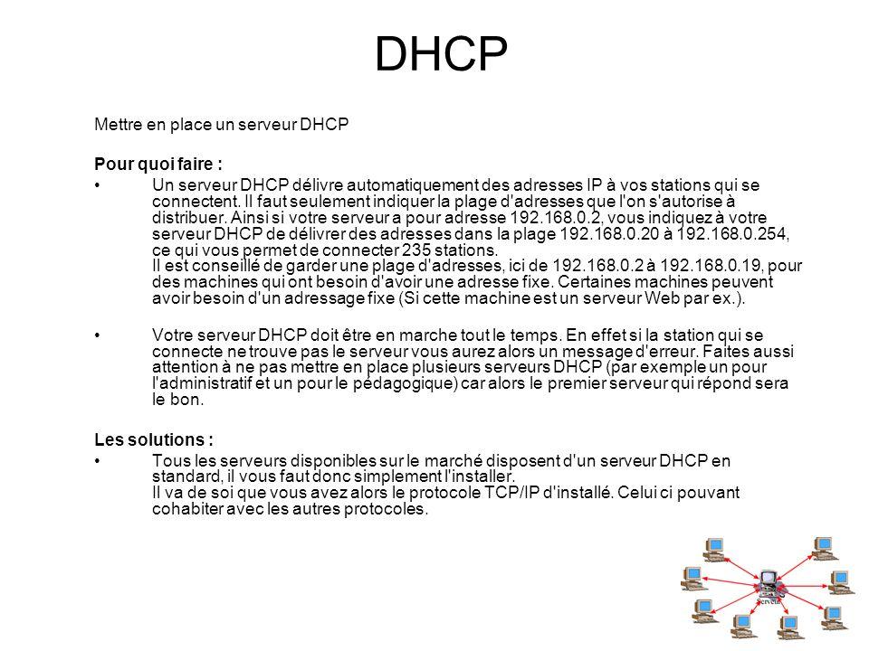 DHCP Mettre en place un serveur DHCP Pour quoi faire : Un serveur DHCP délivre automatiquement des adresses IP à vos stations qui se connectent. Il fa