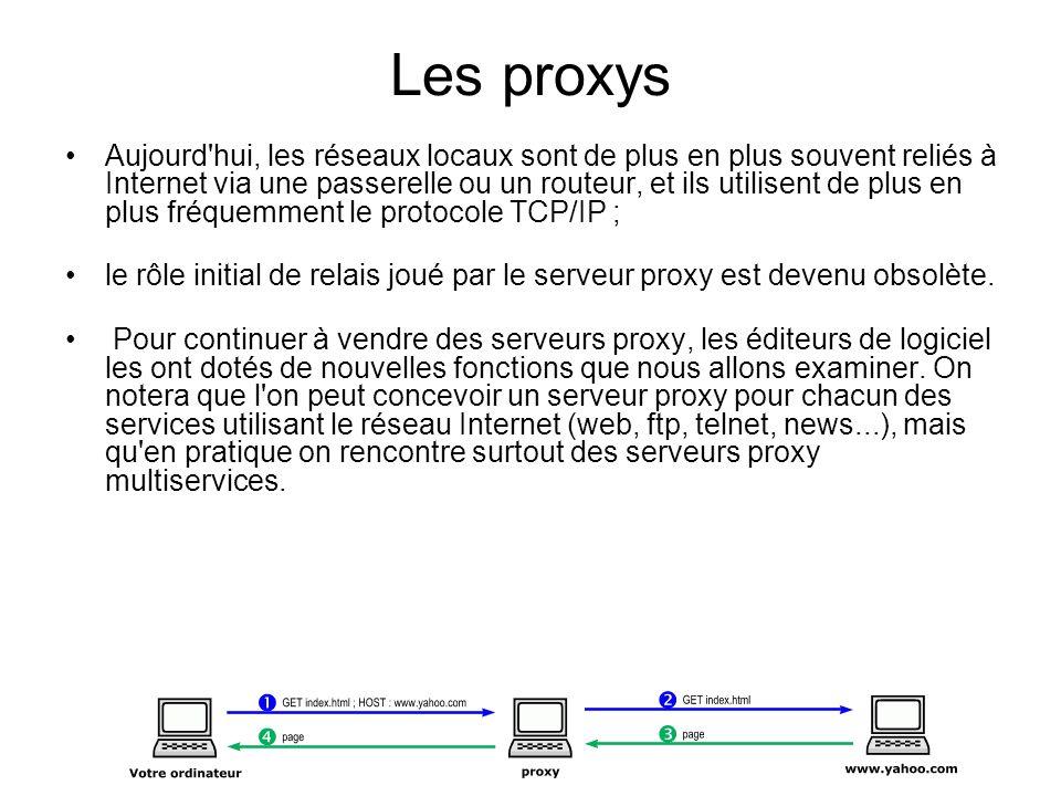 Les proxys Aujourd'hui, les réseaux locaux sont de plus en plus souvent reliés à Internet via une passerelle ou un routeur, et ils utilisent de plus e