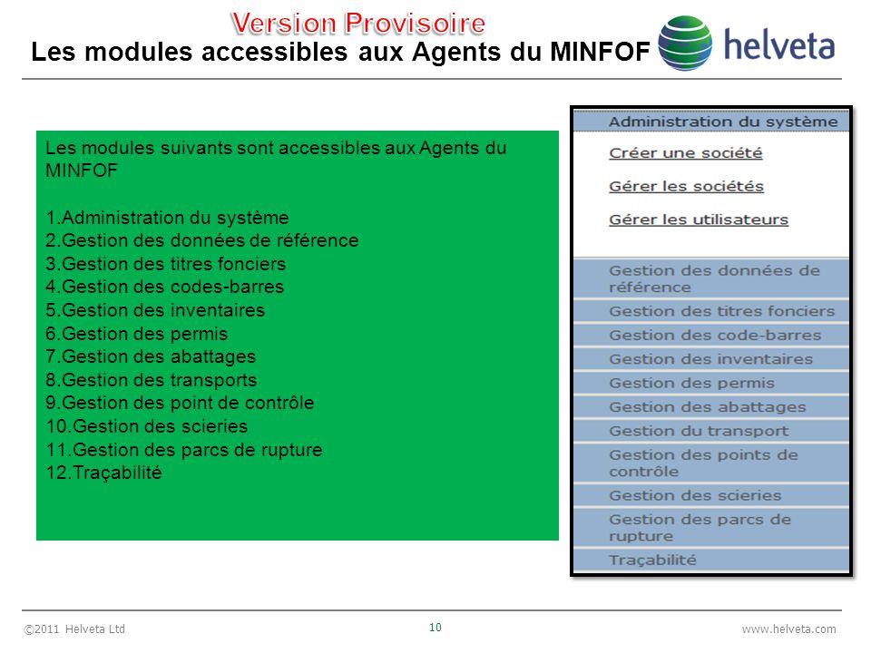©2011 Helveta Ltd 10 www.helveta.com Les modules accessibles aux Agents du MINFOF Les modules suivants sont accessibles aux Agents du MINFOF 1.Adminis