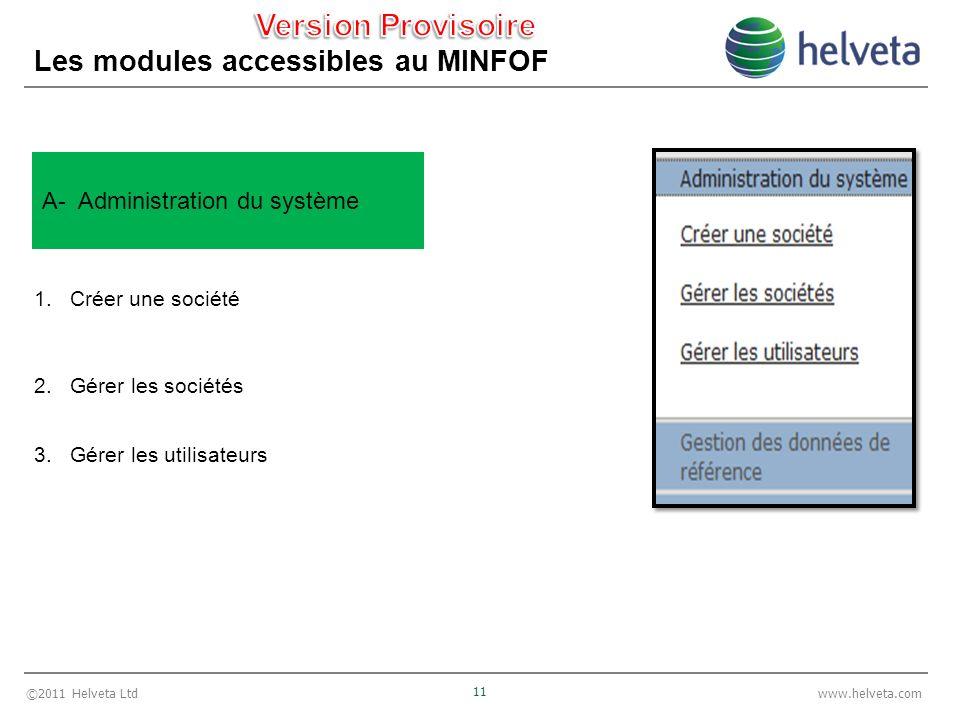 ©2011 Helveta Ltd 11 www.helveta.com Les modules accessibles au MINFOF 1.Créer une société 2.Gérer les sociétés 3.Gérer les utilisateurs A- Administration du système