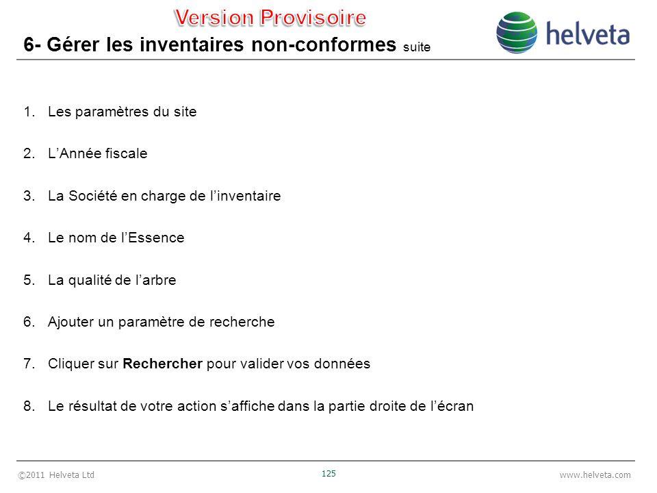©2011 Helveta Ltd 125 www.helveta.com 6- Gérer les inventaires non-conformes suite 1.Les paramètres du site 2.LAnnée fiscale 3.La Société en charge de