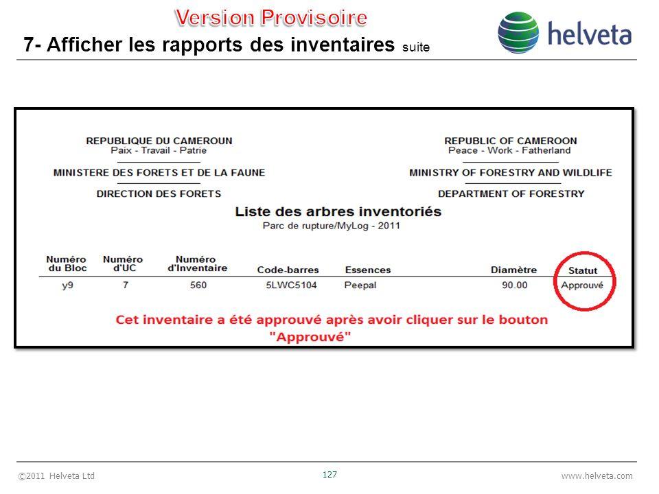 ©2011 Helveta Ltd 127 www.helveta.com 7- Afficher les rapports des inventaires suite
