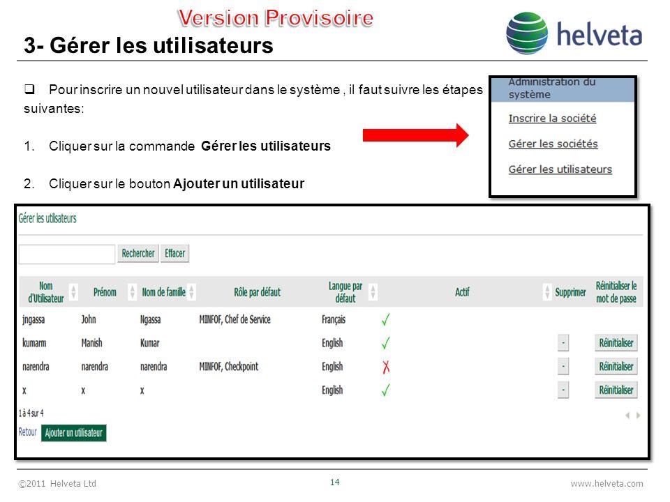 ©2011 Helveta Ltd 14 www.helveta.com 3- Gérer les utilisateurs Pour inscrire un nouvel utilisateur dans le système, il faut suivre les étapes suivantes: 1.Cliquer sur la commande Gérer les utilisateurs 2.Cliquer sur le bouton Ajouter un utilisateur