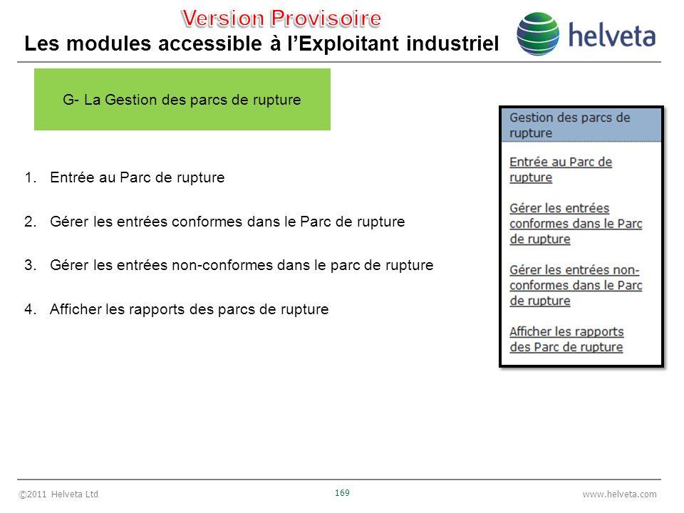 ©2011 Helveta Ltd 169 www.helveta.com Les modules accessible à lExploitant industriel 1.Entrée au Parc de rupture 2.Gérer les entrées conformes dans l