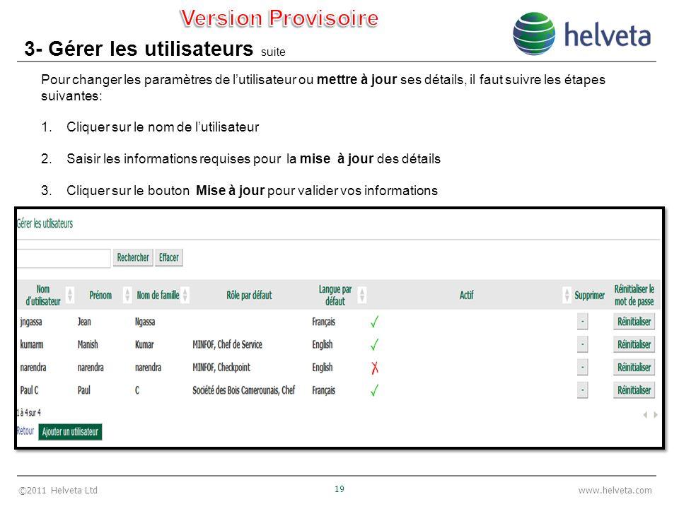 ©2011 Helveta Ltd 19 www.helveta.com 3- Gérer les utilisateurs suite Pour changer les paramètres de lutilisateur ou mettre à jour ses détails, il faut