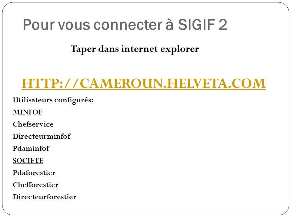 Pour vous connecter à SIGIF 2 Taper dans internet explorer HTTP://CAMEROUN.HELVETA.COM Utilisateurs configurés: MINFOF Chefservice Directeurminfof Pdaminfof SOCIETE Pdaforestier Chefforestier Directeurforestier
