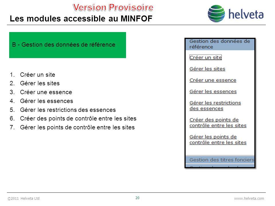 ©2011 Helveta Ltd 20 www.helveta.com Les modules accessible au MINFOF 1.Créer un site 2.Gérer les sites 3.Créer une essence 4.Gérer les essences 5.Gér