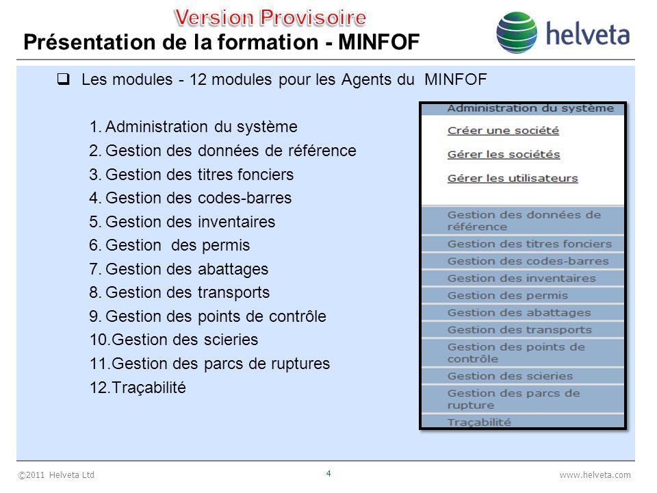 ©2011 Helveta Ltd 4 www.helveta.com Présentation de la formation - MINFOF Les modules - 12 modules pour les Agents du MINFOF 1.Administration du systè