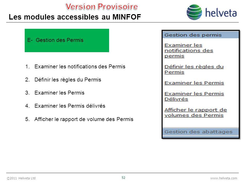 ©2011 Helveta Ltd 52 www.helveta.com Les modules accessibles au MINFOF 1.Examiner les notifications des Permis 2.Définir les règles du Permis 3.Examin