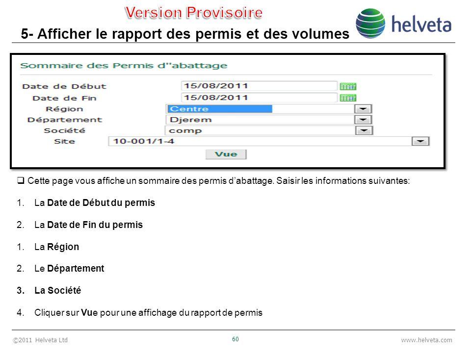 ©2011 Helveta Ltd 60 www.helveta.com 5- Afficher le rapport des permis et des volumes Cette page vous affiche un sommaire des permis dabattage. Saisir