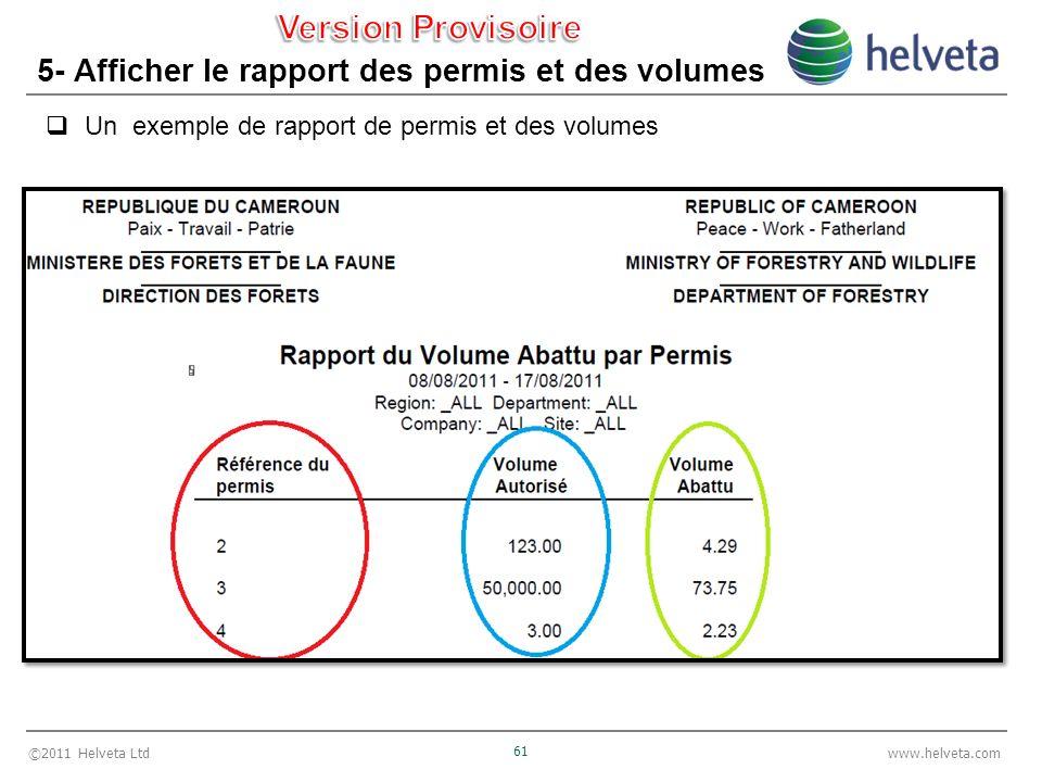 ©2011 Helveta Ltd 61 www.helveta.com 5- Afficher le rapport des permis et des volumes Un exemple de rapport de permis et des volumes