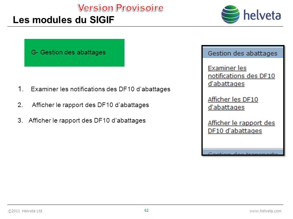 ©2011 Helveta Ltd 62 www.helveta.com Les modules du SIGIF 1. Examiner les notifications des DF10 dabattages 2. Afficher le rapport des DF10 dabattages