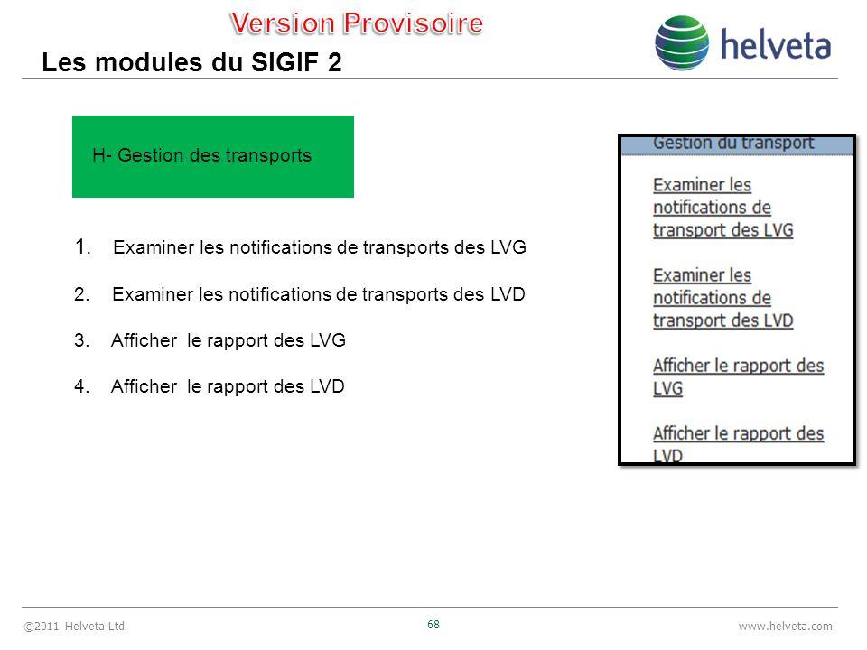 ©2011 Helveta Ltd 68 www.helveta.com Les modules du SIGIF 2 1.