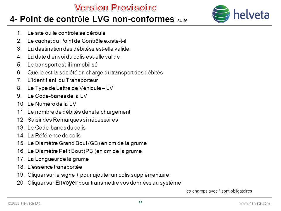 ©2011 Helveta Ltd 88 www.helveta.com 4- Point de contrôle LVG non-conformes suite 1.Le site ou le contrôle se déroule 2.Le cachet du Point de Contrôle