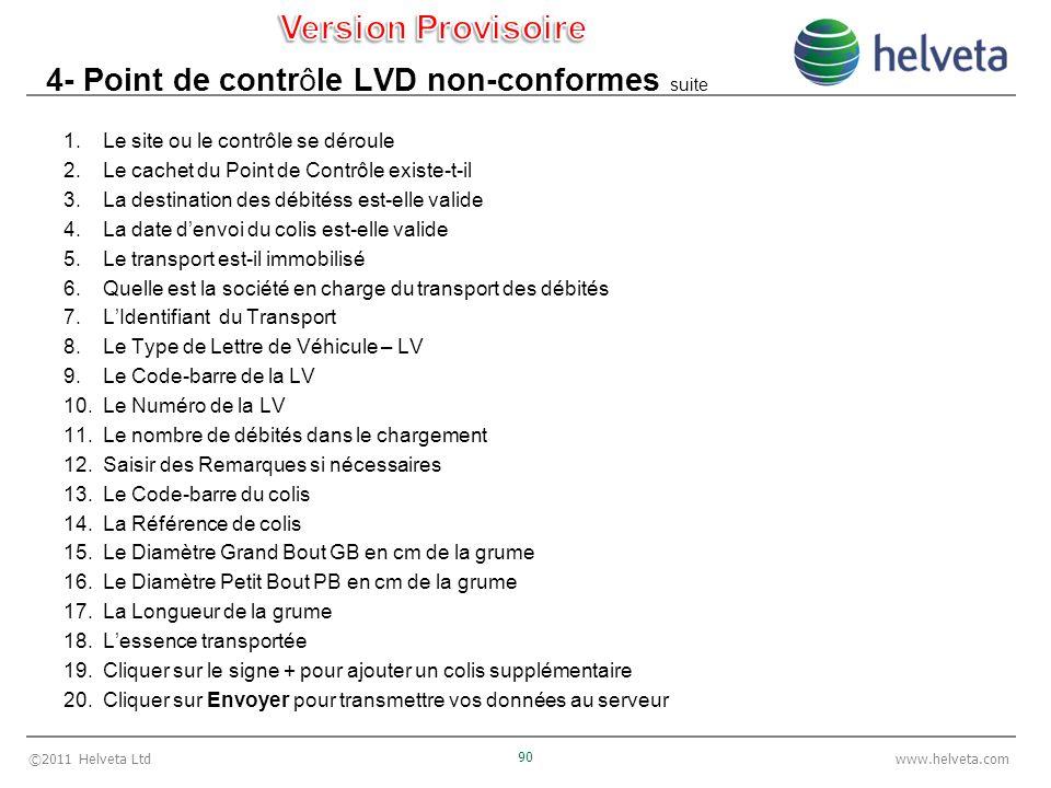 ©2011 Helveta Ltd 90 www.helveta.com 4- Point de contrôle LVD non-conformes suite 1.Le site ou le contrôle se déroule 2.Le cachet du Point de Contrôle