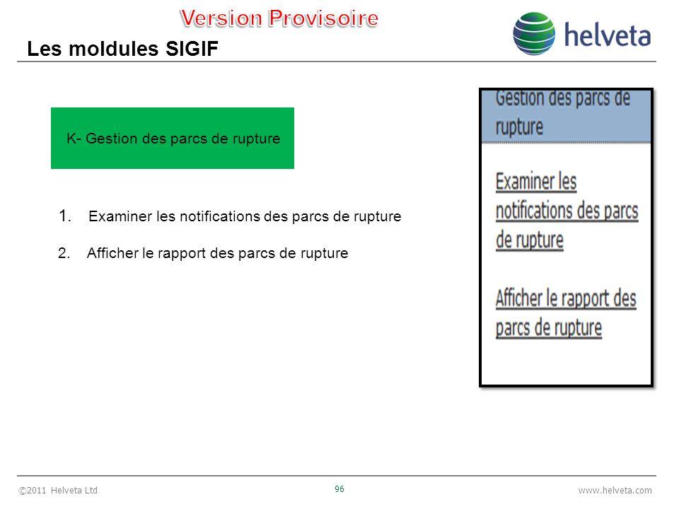 ©2011 Helveta Ltd 96 www.helveta.com Les moldules SIGIF 1. Examiner les notifications des parcs de rupture 2. Afficher le rapport des parcs de rupture