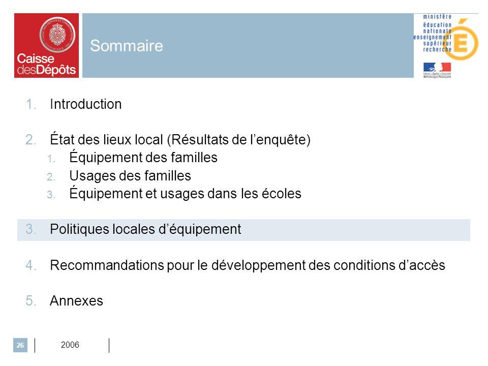 2006 26 Sommaire 1.Introduction 2.État des lieux local (Résultats de lenquête) 1. Équipement des familles 2. Usages des familles 3. Équipement et usag