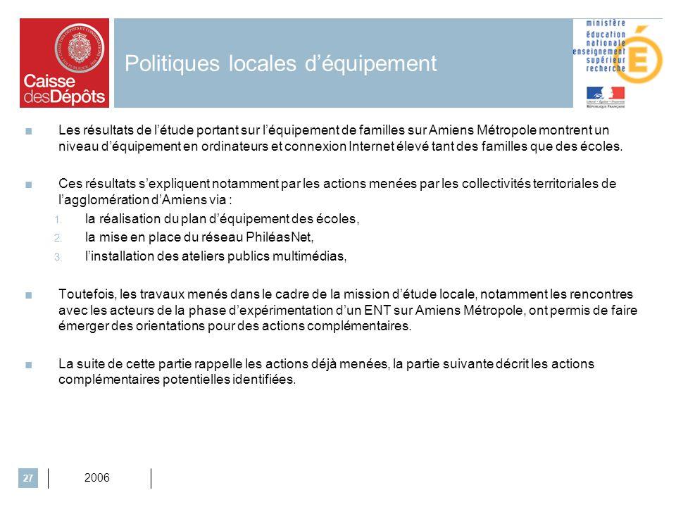 2006 27 Politiques locales déquipement Les résultats de létude portant sur léquipement de familles sur Amiens Métropole montrent un niveau déquipement en ordinateurs et connexion Internet élevé tant des familles que des écoles.