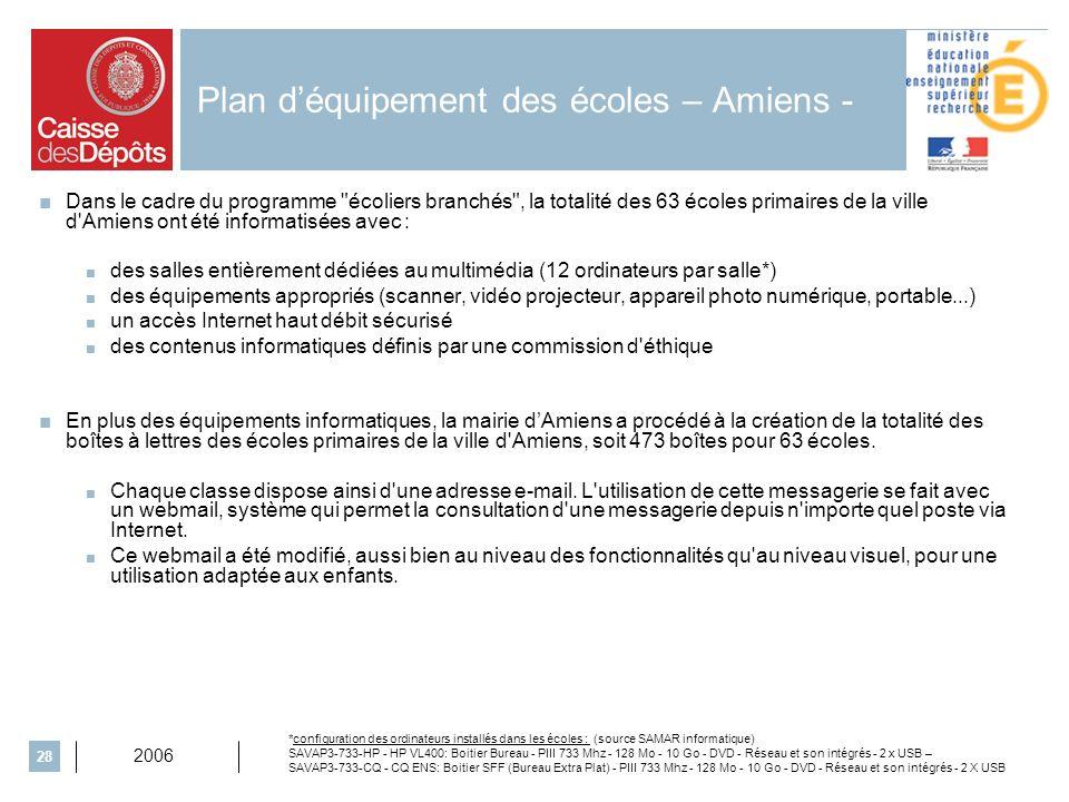 2006 28 Plan déquipement des écoles – Amiens - Dans le cadre du programme écoliers branchés , la totalité des 63 écoles primaires de la ville d Amiens ont été informatisées avec : des salles entièrement dédiées au multimédia (12 ordinateurs par salle*) des équipements appropriés (scanner, vidéo projecteur, appareil photo numérique, portable...) un accès Internet haut débit sécurisé des contenus informatiques définis par une commission d éthique En plus des équipements informatiques, la mairie dAmiens a procédé à la création de la totalité des boîtes à lettres des écoles primaires de la ville d Amiens, soit 473 boîtes pour 63 écoles.