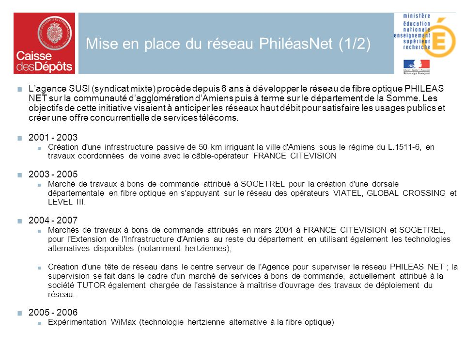 2006 29 Mise en place du réseau PhiléasNet (1/2) Lagence SUSI (syndicat mixte) procède depuis 6 ans à développer le réseau de fibre optique PHILEAS NET sur la communauté dagglomération dAmiens puis à terme sur le département de la Somme.
